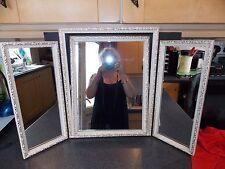 Vintage Mirror ornate white & gold triple dressing table mirror 1970s 77x50 cm