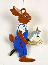 Artist Wilhelm Schweizer German Hanging Ornament Zinn - Easter Bunny on Horse