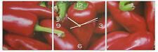 Cuisine Chili Poivre Toile Mur Art horloge avec cadre arrière en bois 30 x 30