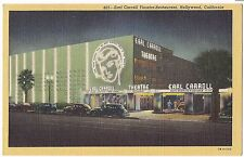 EARL CARROLL THEATRE Sunset Blvd HOLLYWOOD CA  LINEN Postcard California Theater