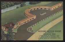 Postcard FRANKLIN OH  Victoria Motel Motor Court Bird's Eye Aerial view 1930's