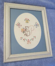 Framed Wall Art - Embroidery: Squirrel with Flowers