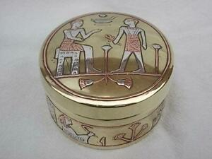 M246 / A 1900s EGYPTIAN BRASS BOX INLAID WITH WHITE METAL PHARAOH SCENES