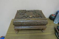 "Vintage Wood Hand Carved Carving Wooden Jewelry Box Chest India 7"" x 11"" x 6"" H"