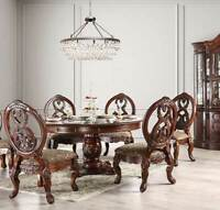 NEW Traditional Cherry Brown Dining Room 7 piece Round Table and Chairs Set ICC7