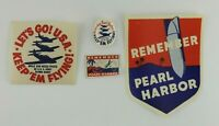 Vintage WWII US Homefront Sticker Lot Keep'em Flying Remember Pearl Harbor Army