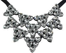 Collier Kette Halskette Statement  Glitzer necklace Kristall  Herzen hearts