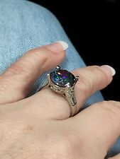 Gorgeous 10.5 CT Rainbow Topaz 925 Sterling silver ring size 8.5