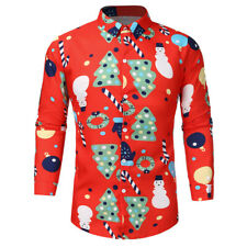 Men's Christmas Theme Button Up Long Sleeve Slim T Shirt Basic Top Blouse hqy
