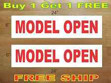 "Model Open 6""x24"" Real Estate Rider Signs Buy 1 Get 1 Free 2 Sided Plastic"