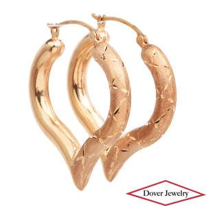 Estate 14K Gold Lovely Elegant Drop Hoop Earrings NR