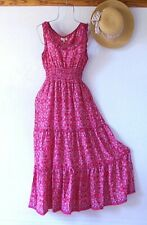 New~$138~Red Blue Peasant Prairie Tiered Smocked Ruffle Boho Dress~Size Large L