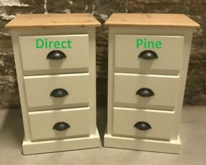 X 2 (PAIR) SHAFTESBURY 3 DRAWER BEDSIDES CREAM/ PINE TOP & RUSTIC CUP HANDLES