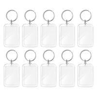 10X Transparent Blank key Chain Photo Picture Frame Keyring Split Ring keychain