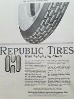 1919 Republic tires rubber Corporation Youngstown Ohio original ad