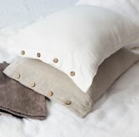 Pillowcase with Buttons/Standard,Queen,King,Body/White,Natural Gray Brown Rose