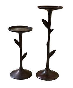 pillar candle holders set of 2 Metal Antiqued Gold brushed Used metal 7x3 leaf