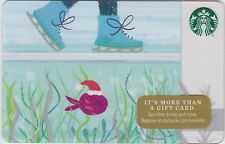 Starbucks Coffee Ice Skater Above / Happy Christmas Fish Below 2016 Gift Card