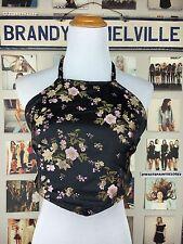 brandy Melville silky black cherry blossom embroidery self tie halter top NWT