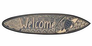 Welcome Deko Surfboard 100cm mit Schildkröte Motiv Hartholz