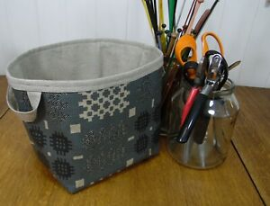 Welsh Blanket Weave Print Acrylic Oilcloth blue grey large storage basket