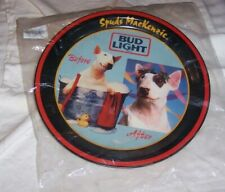 Vintage Spuds MacKenzie round tray Before and After New in package. Bud Light