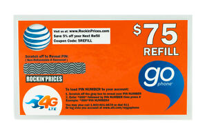 AT&T Go phone $75 Refill PIN - Physical Refill card Top Up 90 Day US Seller ATT