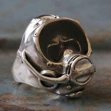 Biker Ring sterling silver skull diver scuba diving snorkel Surf Mask Swimming