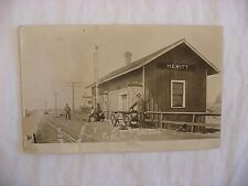 Real Photo Postcard RPPC Railroad Depot Hewitt Wisconsin WI 1909 #1691
