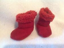 """American Girl 18""""/Bitty Baby 15"""" doll Burgundy Red Fuzzy suede boots shoes fits"""