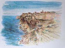litho de Robert PICCIO, peintre Corse , vue de Bonifacio