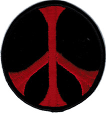 9925 Black & Red Round Peace Sign Hippie 60s Emblem Embroidered Iron On Patch