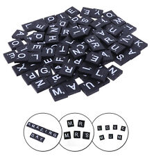 100pcs Bois Scrabble Noir Tuiles Blanc Alphabet Lettres Embellish Cadre Loisirs
