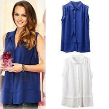 Sleeveless Collared Blouse Plus Size for Women