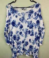 DIVIDED BY H&M Women's Floral Knit Top, Blue/White, 3/4 Sleeves size M EUC