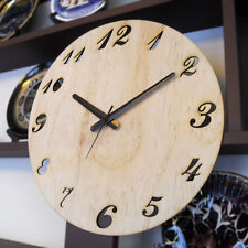 """Large 14"""" 36cm Wooden Hanging Wall Clock Silent Natural Modern Simple Style"""