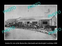 OLD LARGE HISTORIC PHOTO OF GOOLWA SA, THE BARTON Bros BLACKSMITH SHOP c1890