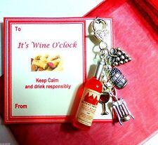 """Is it Wine O'Clock yet?"" Wine Bottle/Glass Grapes Novelty Wine Bag Charm Gift"