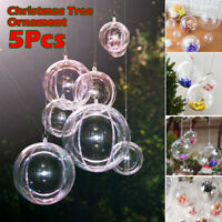 5Pc Clear Plastic Christmas Balls Baubles Sphere Fillable Xmas Tree Ornament DIY