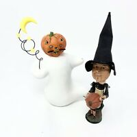 Dept 56 Halloween Witch With Pumpkin And Pumpkinhead Ghost Resin As-Is