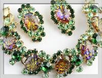 **Offer** Vintage JULIANA BOOK PIECE Cats  Eye Green RS Bracelet & Earrings