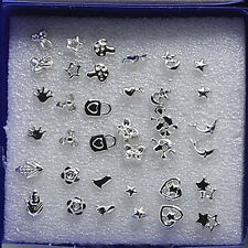 18 Pairs Lovely Fashion Small Stud Earrings Girls Mixed Styles Plastic Mini Gift Silver