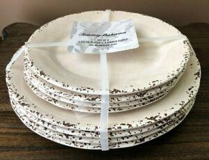 TOMMY BAHAMA 8pc Melamine DINNER & SALAD PLATES Cream IL MULINO Rustic NWT