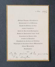 Menu 11 mai 1892 Prince DE BROGLIE  DE LA ROCHEFOUCAULT baron comte noblesse