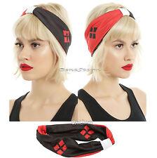 DC Comics Harley Quinn Stretchy Soft Turban Style Hair Headband Red & Black NWT