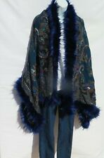 Yak+Sheep Wool Blend|Cape|Wrap|Handcrafted|Handloomed|Faux Fur|Teal / Black