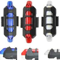 Rear 5 LED Bicycle Cycling Tail USB Rechargeable Red Warning Light Bike #JT1