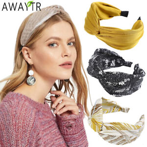 Women's Knotted Headband Hairband Dot Printing Wide Hair Hoop Bands Accessories