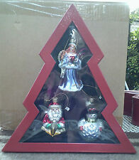 NEW 3 New Christmas Ornaments In Tree Shaped Box