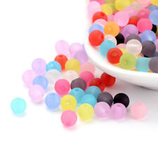 100 Colorful Transparent Acrylic Beads Smooth Ball Round Frosted Finish 6mm DIA